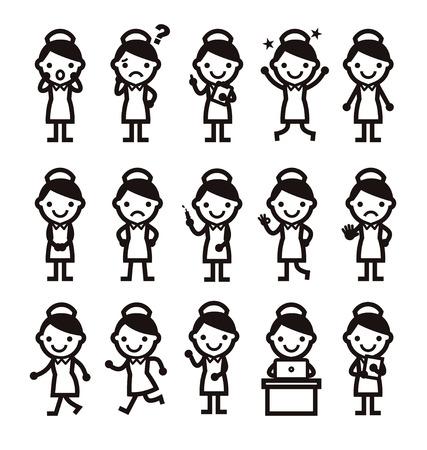 nurse icon, whole body, different pose, white background