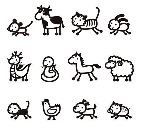 12 の中国の黄道帯動物アイコン、白背景に黒