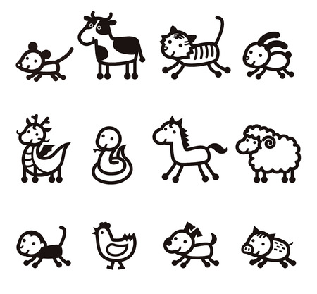 Twelve Chinese Zodiac Animals icon, black on white background Çizim