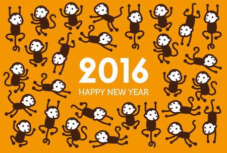 new Year: Nuovo Anno illustrazione Scimmia 2016