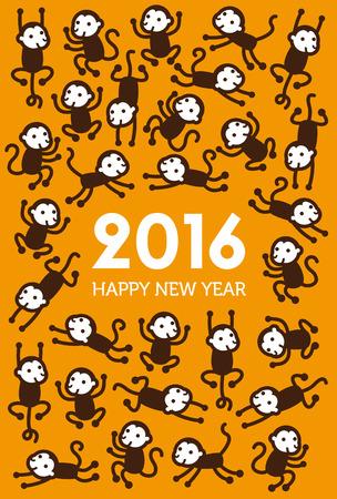 New Year Monkey illustratie voor het jaar 2016 Stock Illustratie