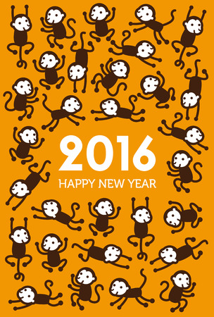 New Year Monkey illustration for year 2016