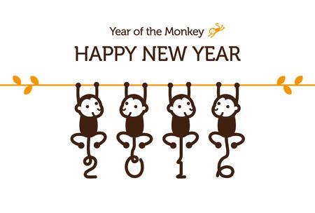 nouvel an: Cartes de Nouvel An avec des singes pour l'ann�e 2016 Illustration