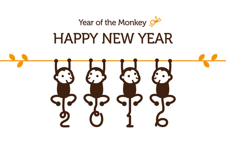 year greetings: New Year card with Monkey for year 2016