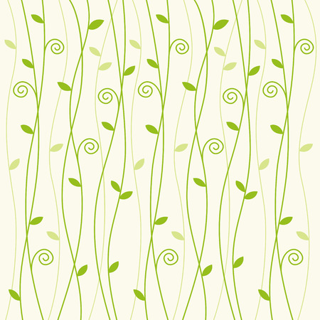 Green vine creeper pattern on pale green background Çizim