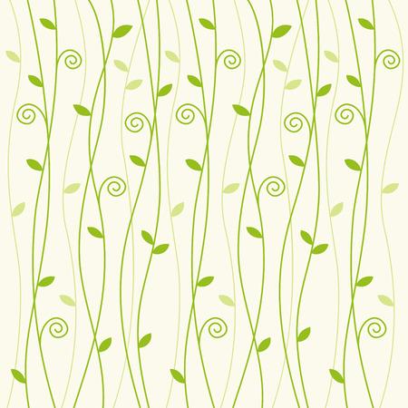 Green vine creeper pattern on pale green background Vettoriali