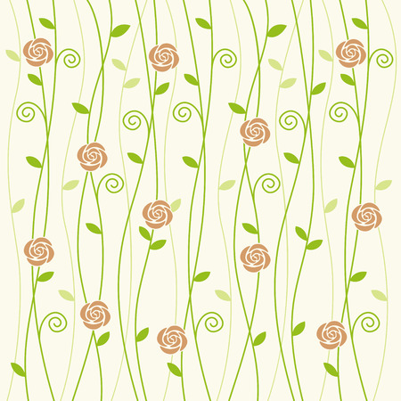 pale green: Ros and vine pattern on pale green background Illustration