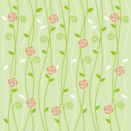 light green background: Rose and vine pattern on light green background