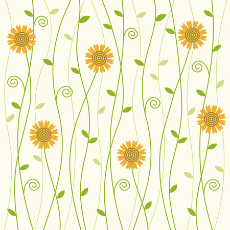 skiny: flowerly curly vine background with sunflower pattern Illustration