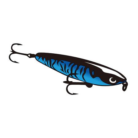 釣りのフックとルアーをシャイニング ブルー  イラスト・ベクター素材