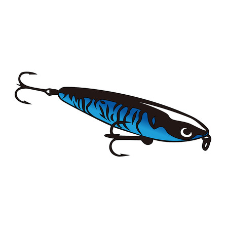 sports fishing: Blue shining lure with hooks for fishing