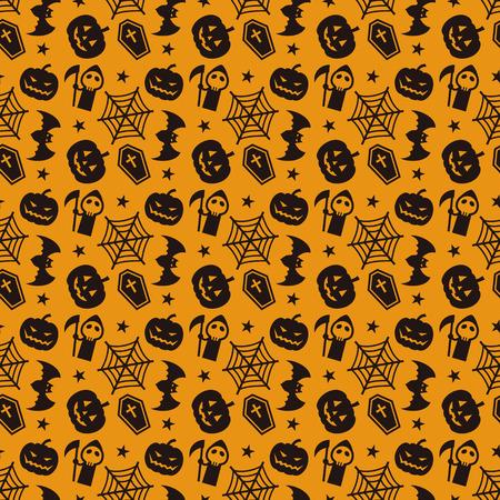 spiderweb: Halloween pattern with pumpkin, bat, spiderweb and coffin
