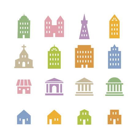 city icon: Various building icon in pink, blue, green, beige and orange