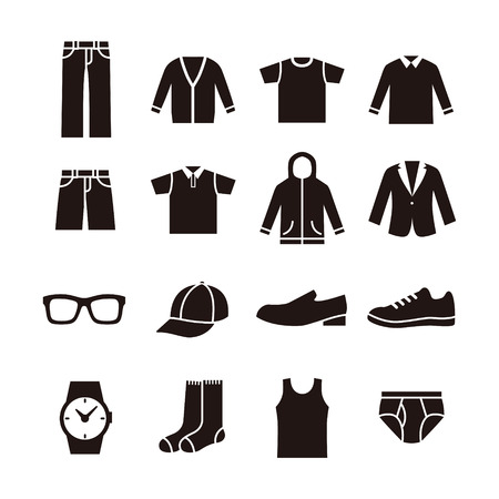 mens shoes: Black and white mans fashion icon illustration