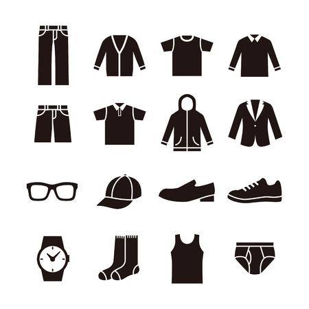Black and white man's fashion icon illustration Vettoriali