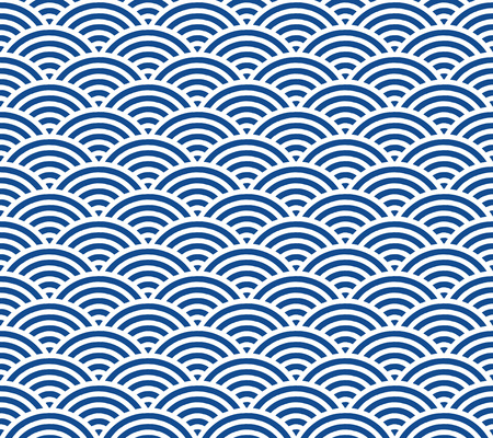 Blue and dark blue Japanese style wave pattern Çizim