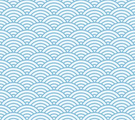 ブルーと明るい青い和風波のパターン