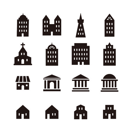 Black and white various different building icon Vetores