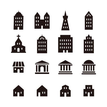 Zwart en wit verschillende gebouw pictogram Stockfoto - 45343557