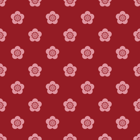 plum blossom: Red and pink Japanese style plum blossom pattern