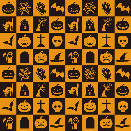 Orange and black halloween pattern with pumpkin, bat, spider web and etc