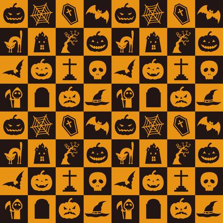 Oranje en zwart halloween patroon met pompoen, vleermuis, spinnenweb en etc Stock Illustratie