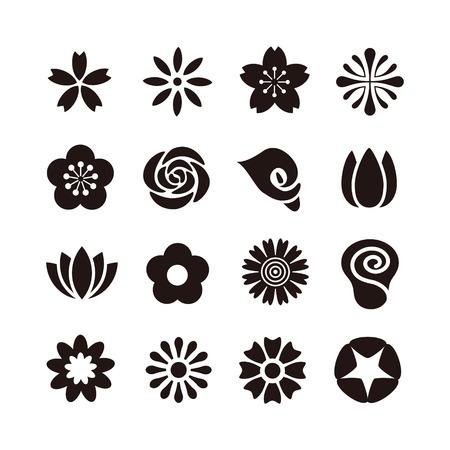 simbol: Vari tipi di fiore icona, bianco e nero illustrazione Vettoriali