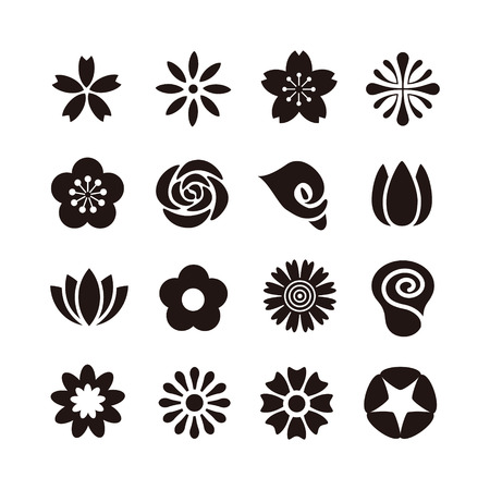 Various kind of flower icon, black and white illustration Çizim