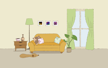 Nice cozy living room illustration with confortable couch
