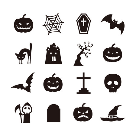 Various Kind Of Flower Icon, Black And White Illustration Royalty ...
