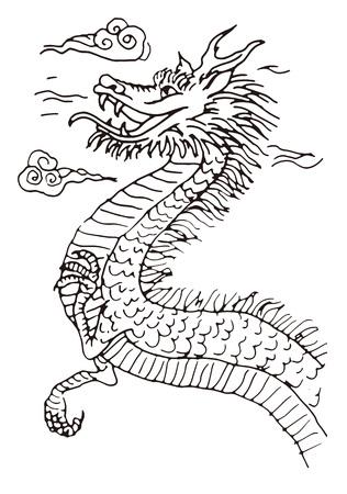 imaginary line: Black and white hand drawn dragon illustration