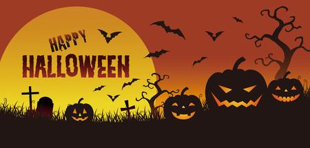 Halloween illustration,  jack o lantern and full moon in the twilight