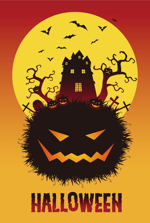 haunted tree: Spooky Halloween illustration with full moon and jack o lanterns Illustration