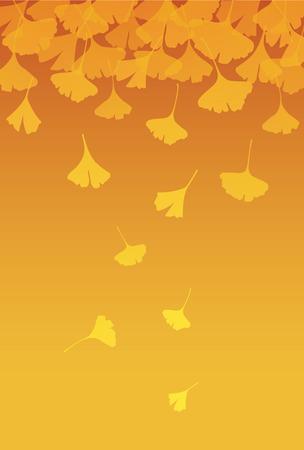 노란 은행 나무 오렌지 그라데이션 배경에 나뭇잎