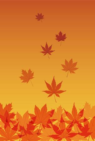 일본식 가을 메이플 오렌지 그라디언트 배경에 나뭇잎