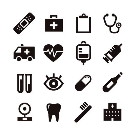 an injector: Black and white simple medical icon illustration Illustration