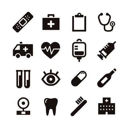 Black and white simple medical icon illustration Illustration