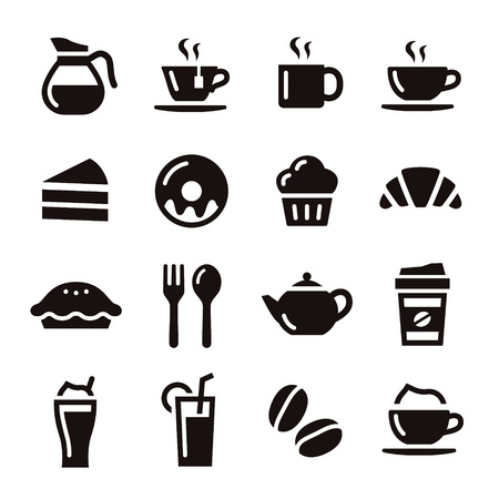 Cafe elements illustration coffe, tea and sweets Stock Illustratie