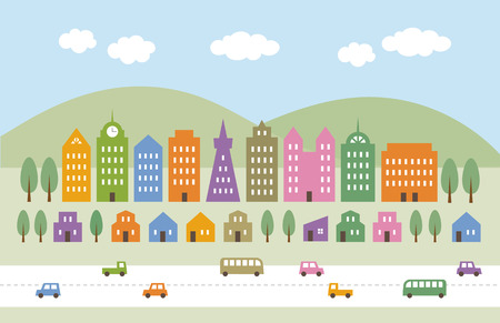 pink hills: Colorful tall buildings and houses in suburbs