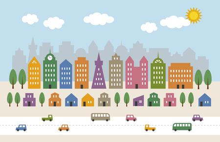 case colorate: edifici alti colorati e case in città Vettoriali
