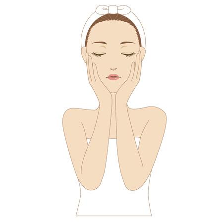 eyes closing: Una mujer que pone sus manos en la mejilla y los ojos de cierre
