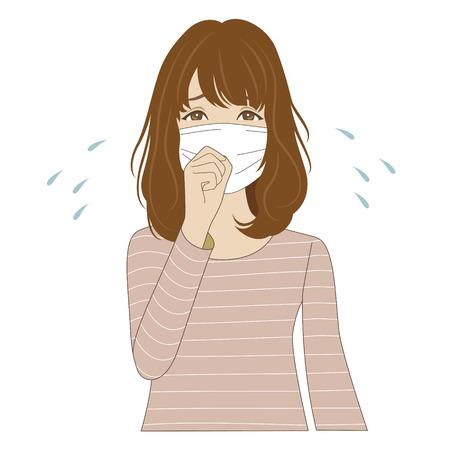 flue season: Una mujer enferma joven con mascarilla m�dica