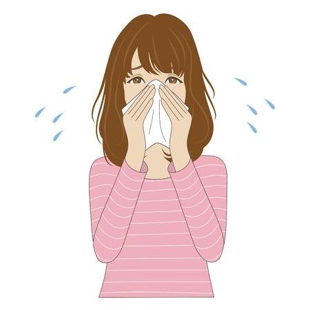 Een jonge vrouw blaast haar neus met zakdoek Stock Illustratie
