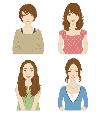 tanktop: Young women with different hairstyles and clothes