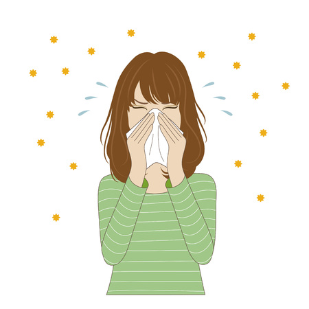 nariz: Una mujer joven que sopla la nariz con un pañuelo Vectores