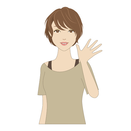 eye brow: A smiling young woman waving her hand