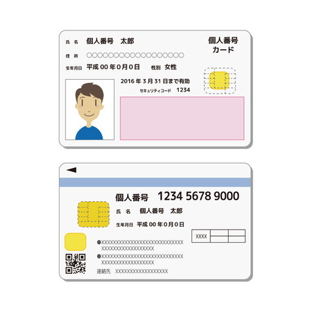 personal identification number: My number ID card sample, front and back Illustration