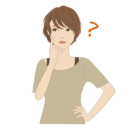 index finger: A young woman thinking with her index finger on her cheek Illustration