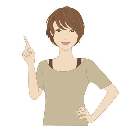 dedo indice: Mujer sonriente que señala con su dedo índice