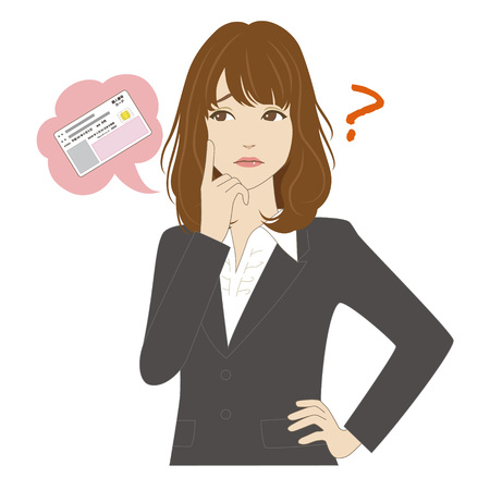 business suit: A young woman in business suit thinking about id card